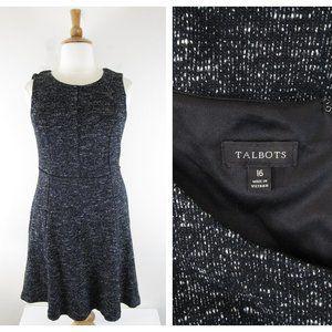 Talbots Plus Size Gray Knit Tweed Fit Flare Dress